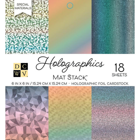 "Single-Sided Cardstock Stack 6""X6"" 18/Pkg - Holographics, 6 Designs/3 Each"
