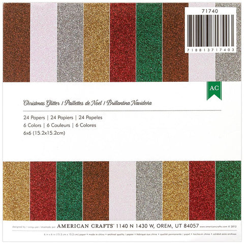 "American Crafts Glitter Paper Pad 6""X6"" 24/Pkg - Christmas"