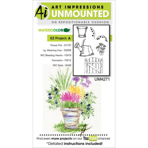 "EZ Project A - Watercolor Cling Rubber Stamps 4""X7"""