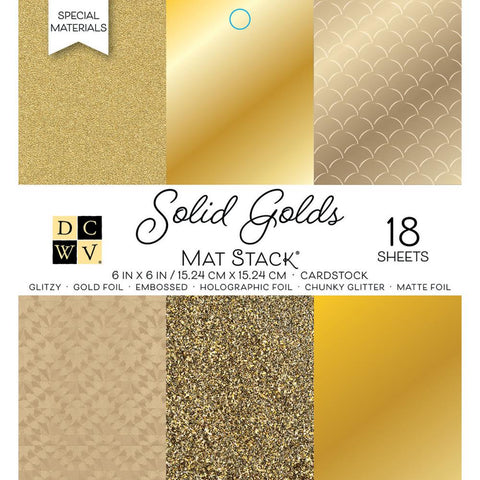 "Single-Sided Cardstock Stack 6""X6"" 18/Pkg - Solid Golds, 6 designs/3 each"