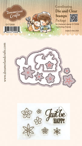 Coordinating Die & Clear Stamp Package for Character Stamp D172008 Comforting Friends