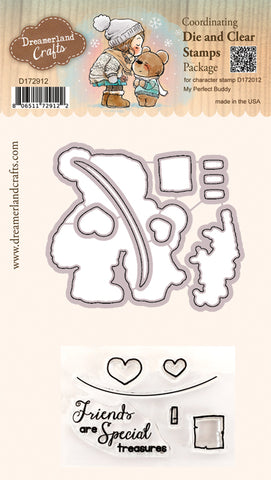 Coordinating Die & Clear Stamp Package for Character Stamp D172012 My Perfect Buddy