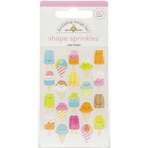 Doodlebug Sprinkles Adhesive Glossy Enamel Shapes 20/Pkg - Cool Treats