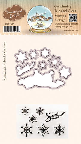 Coordinating Die & Clear Stamp Package for Character Stamp D172013 Floating Through Time