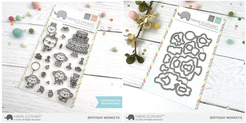 BIRTHDAY MONKEYS stamp and die