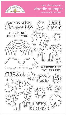 Doodlebug RAINBOWS AND UNICORNS Clear Doodle Stamps 6329