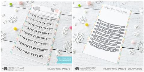 HOLIDAY WORD BANNERS stamp and die