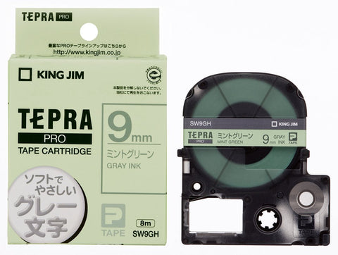 Tepra Pro Mint Green Cartridge Gray Print (9mm)
