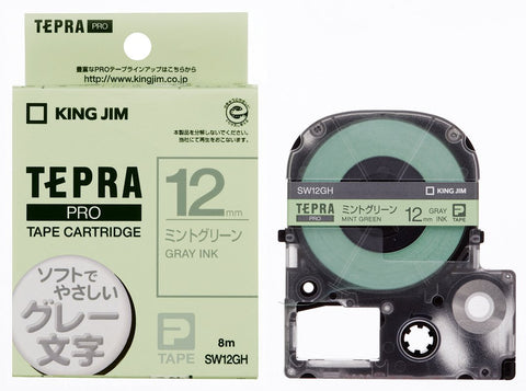Tepra Pro Mint Green Cartridge Gray Print (12mm)