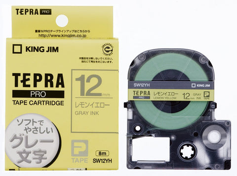 Tepra Pro Lemon Yellow Cartridge Gray Print (12mm)
