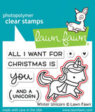 winter unicorn stamp and die