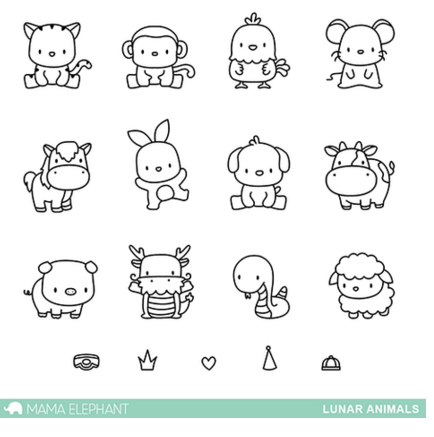 LUNAR ANIMALS (Stamp and Die Combo)