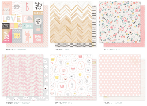 Little You 12 x 12 Patterned Paper Set - Girl