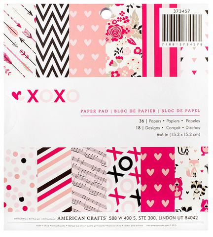 PAPER PAD - PATTERNED - AC - VALENTINE'S - 6 X 6 - XOXO