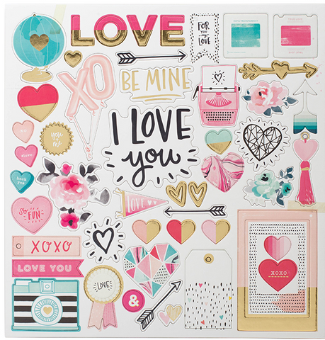 EMBELLISHMENTS - CP - HELLO LOVE - GOLD FOIL - CHIPBOARD