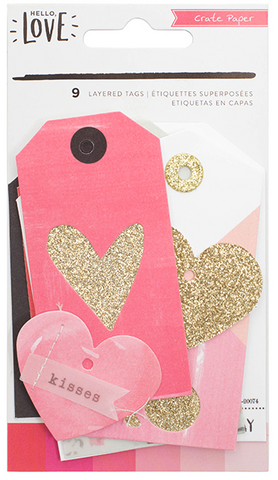EMBELLISHMENTS - CP - HELLO LOVE - GOLD GLITTER - LAYERED TAGS