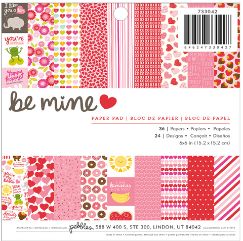 PAPER PAD - PATTERNED - PB - BE MINE - 6 X 6 - 36 SHEETS