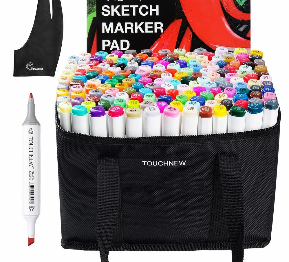 Color Alcohol Marker Drawing Set with Large Sketchbook, Marker Bag and Mess Resistant Glove