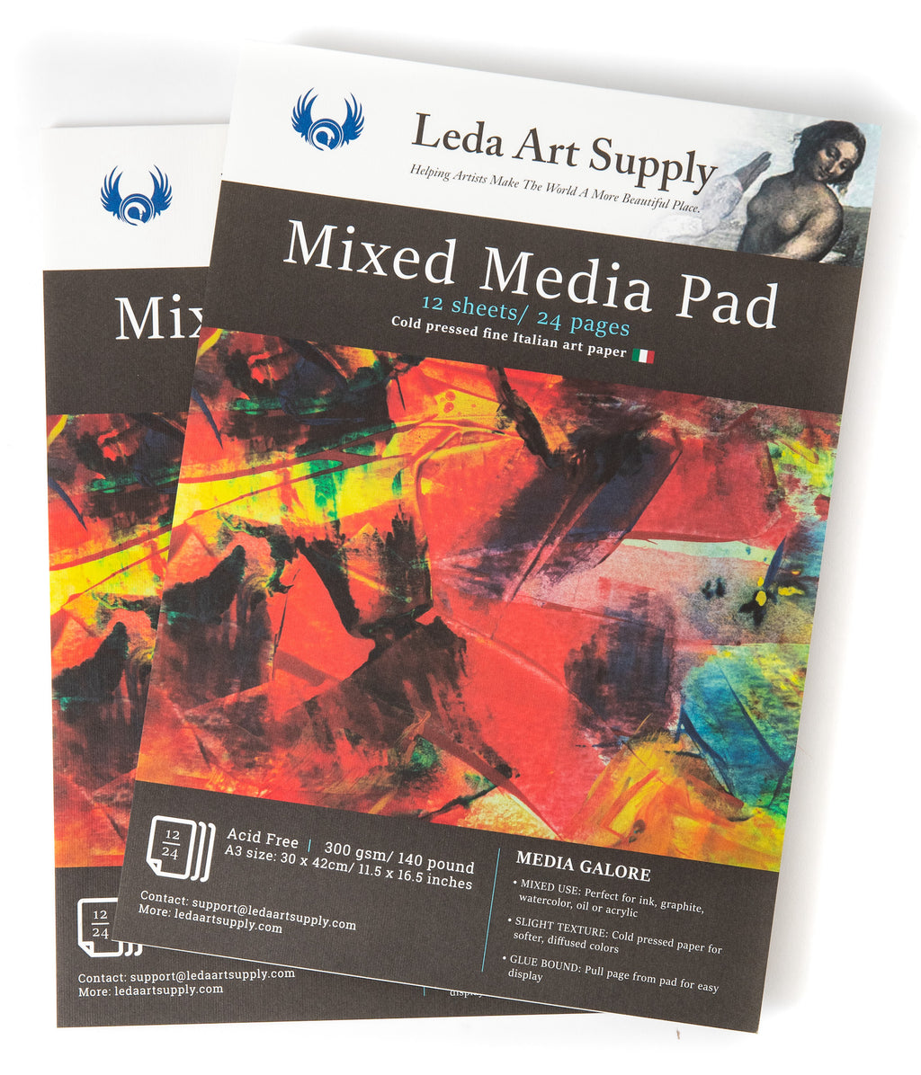 Leda's Mixed-Media Pad 2-Pack for Watercolor, Acrylic, Oil Painting, Markers, Pens or Ink (A3 size 11.5 x 16.5)