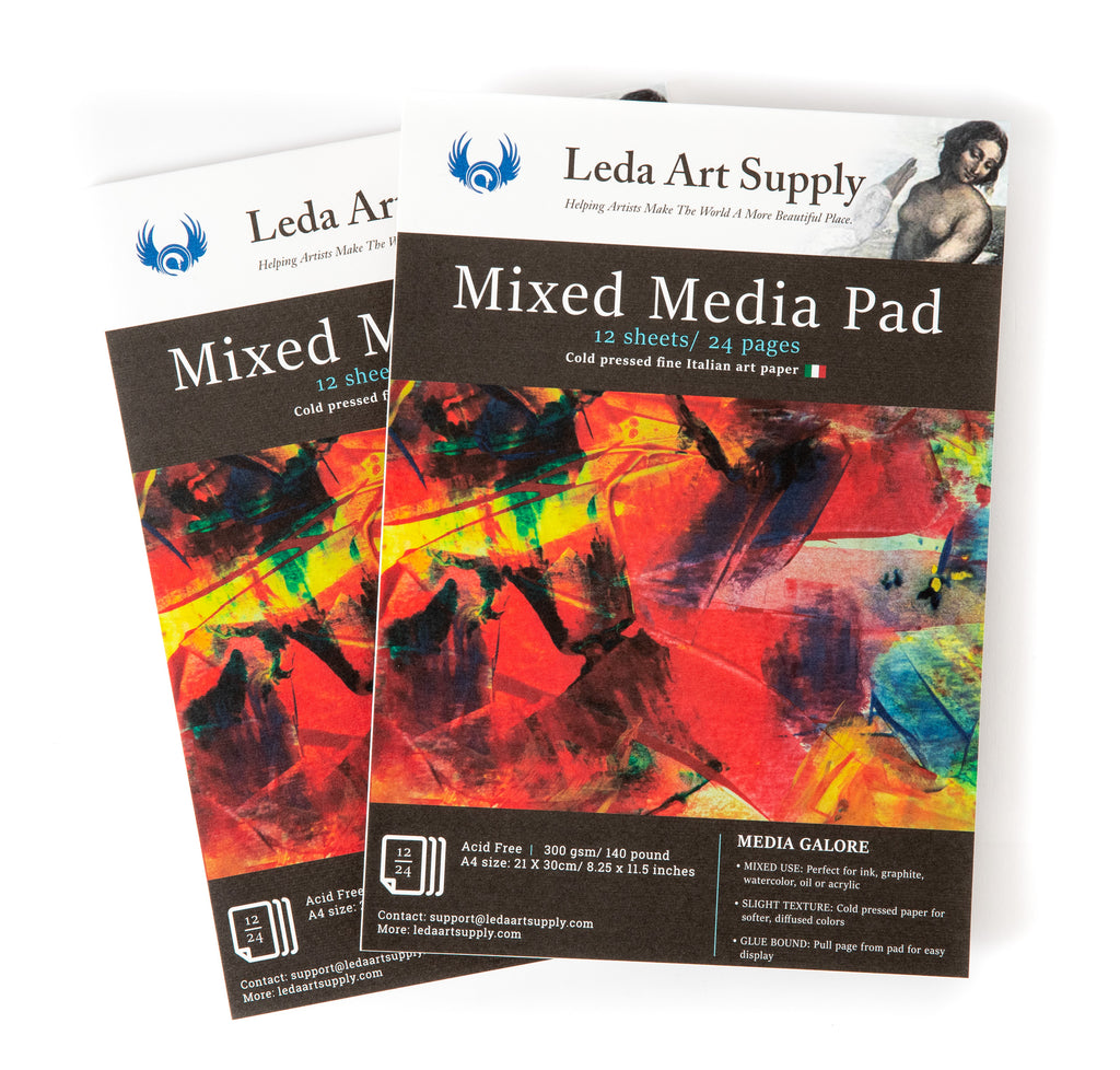 Leda's Mixed-Media Pad 2 Pack for Watercolor, Acrylic, Oil Painting, Markers, Pens or Ink (A4 size 8.3 x 11.5 inches)