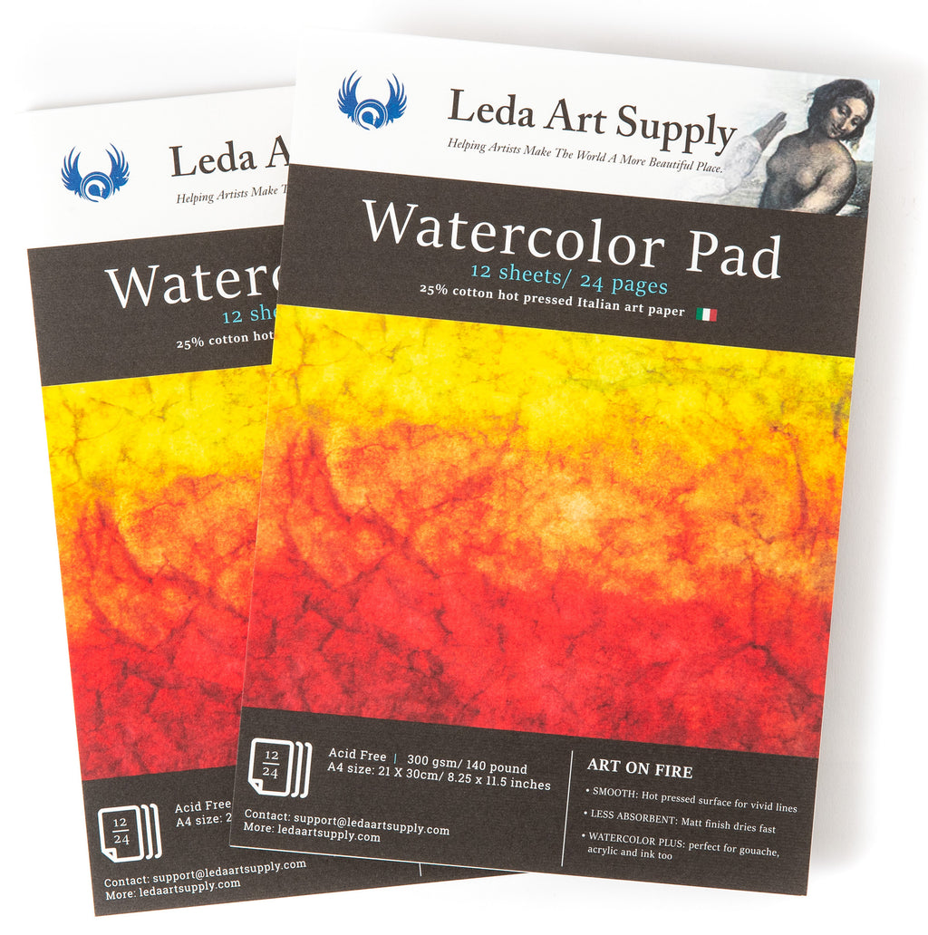 Leda's Hot Pressed Watercolor Pad 2-Pack made with Italian Art Paper for professional renderings (A4 size 8.25 x 11.5 inches)