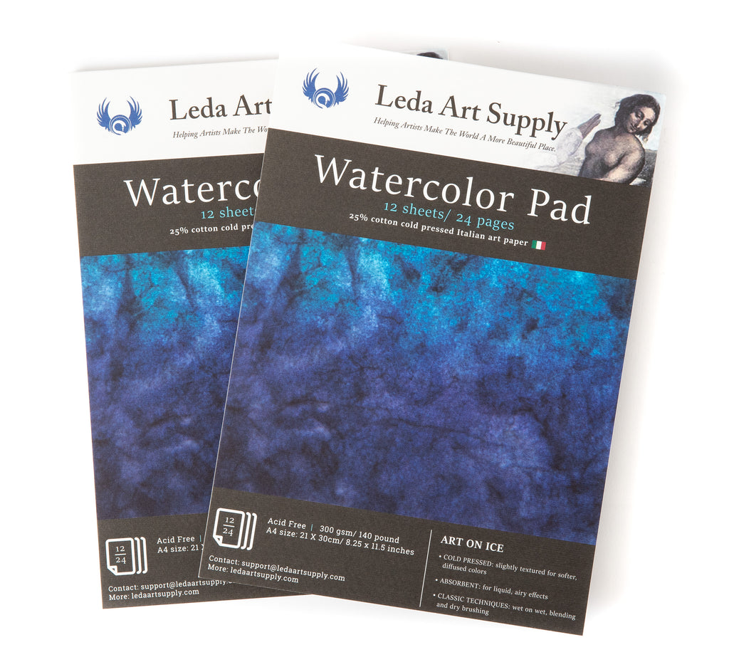 Leda's Cold Pressed Watercolor Pad 2-Pack slightly textured art paper (A4 size 8.3 x 11.5 inches)