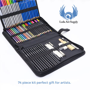 74 Piece Dream Art Kit for Colored Pencil Drawing Includes 60 Professional Sketch Pencils