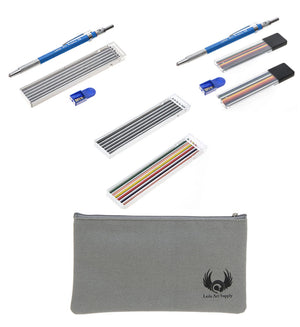 Leda Art Supply Gift Drawing Pencil kit with Black Mechanical Pencil Set, Colored Mechanical Pencil Set, Mixed Lead Refills and 9 inch Canvas Pencil case