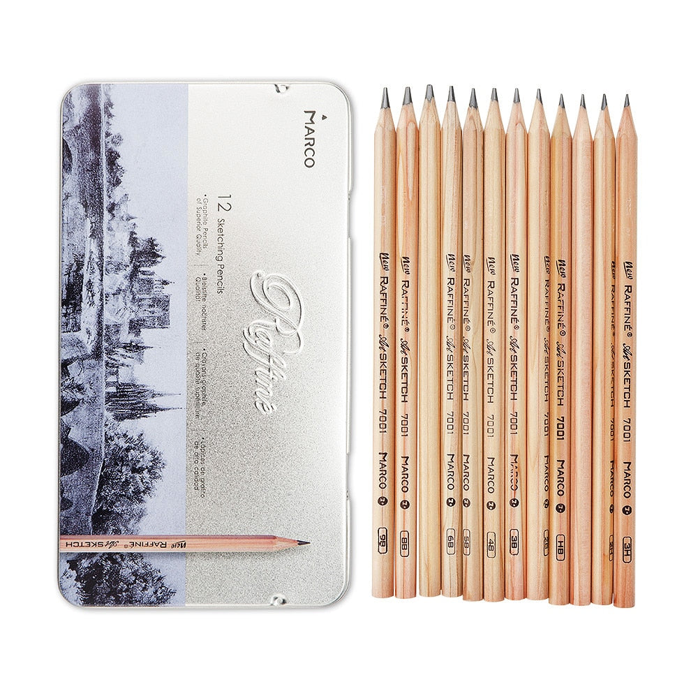Marco Drawing Art Pencil Kit 12 PCS each with different grades (3H-9B) for Sketching Art