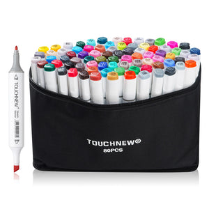 TOUCHNEW 80 Color Dual Head Alcohol Art Marker Set for Sketching or Drawing