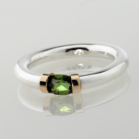 Green Tourmaline Ring in Silver And Gold