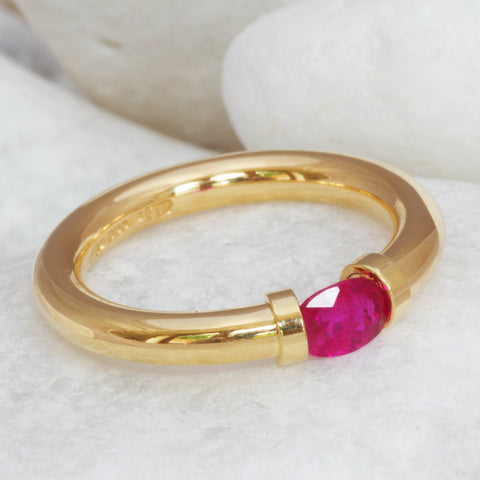 A Beautiful Ruby Set Into An 18ct Gold Ring