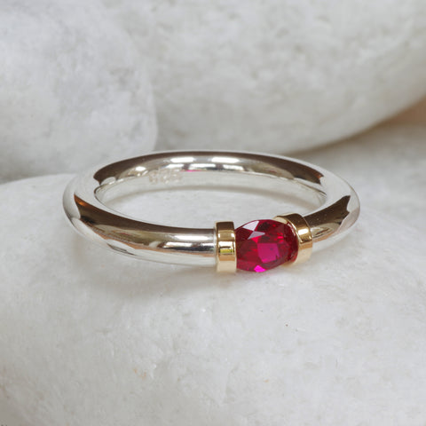 Lab Created Silver and Ruby Tension Ring