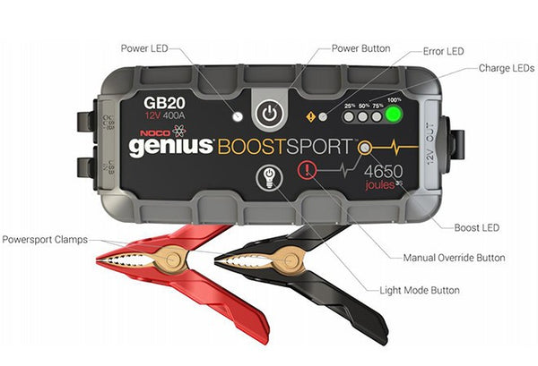 Noco Genius GB 20 Boost. Jump start til 12 V batterier.
