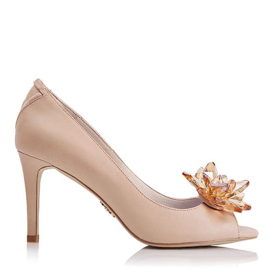 FLORENCE Champagne Blush with Add-on Brooch & Strap - Peep Toe Pump Heels