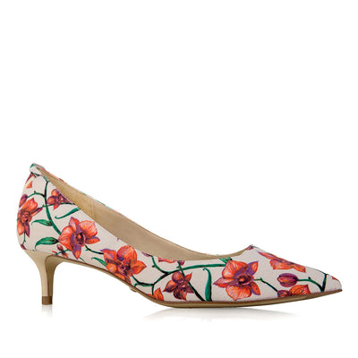 MAYA Signature Coral Orchid with Add-on Reversible Strap - Vegan Kitten Heel