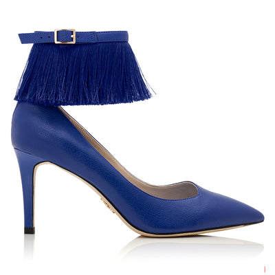 FRIDA Blue Ap-peel - Comfortable Vegan Designer Heel Shoe with Fringe