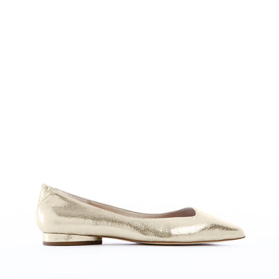 Comfortable Vegan Leather Flats in Gold