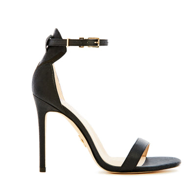 vegan strappy party heels in black