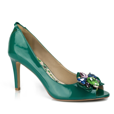 Vegan Peep Toe Pump Heels with Add-on Orchid Brooch
