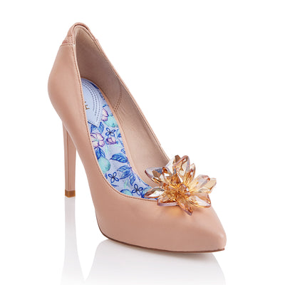 Vegan Designer High Heels with Orchid Brooch