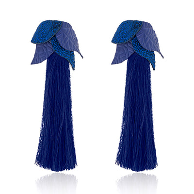 Leaf Tassel Blue Ap-peel - Women's Tassels Shoes