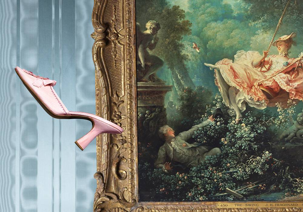 Manolo Blahnik's candy-colored slippers and Fragonard's Swing