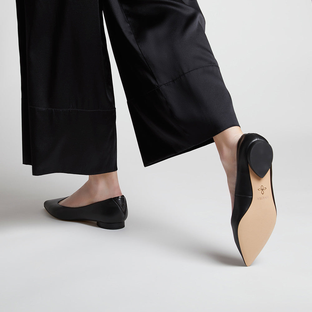 VICKY Midnight Black - Comfortable Vegan Leather Flats