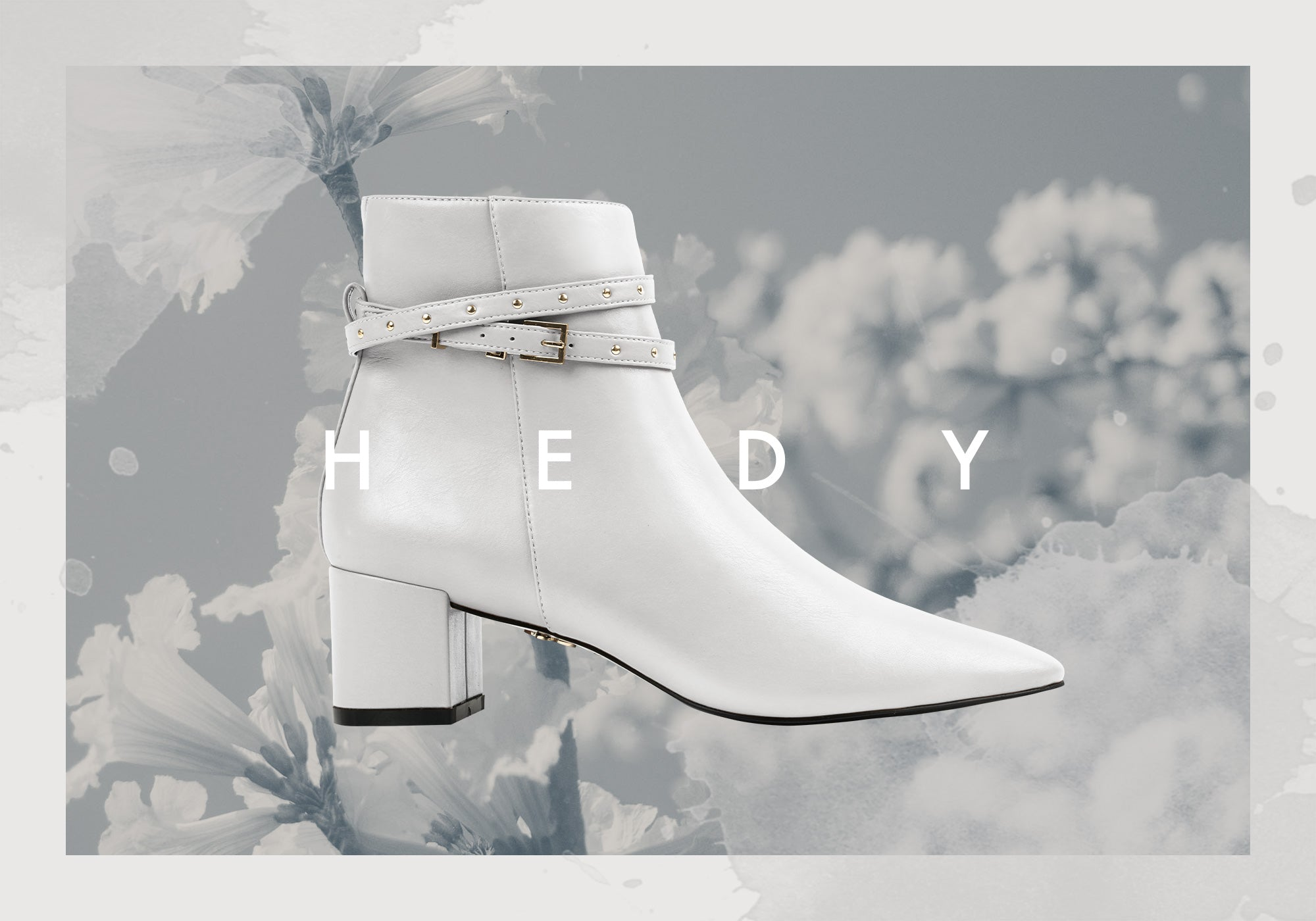 HEDY, white vegan ankle boots