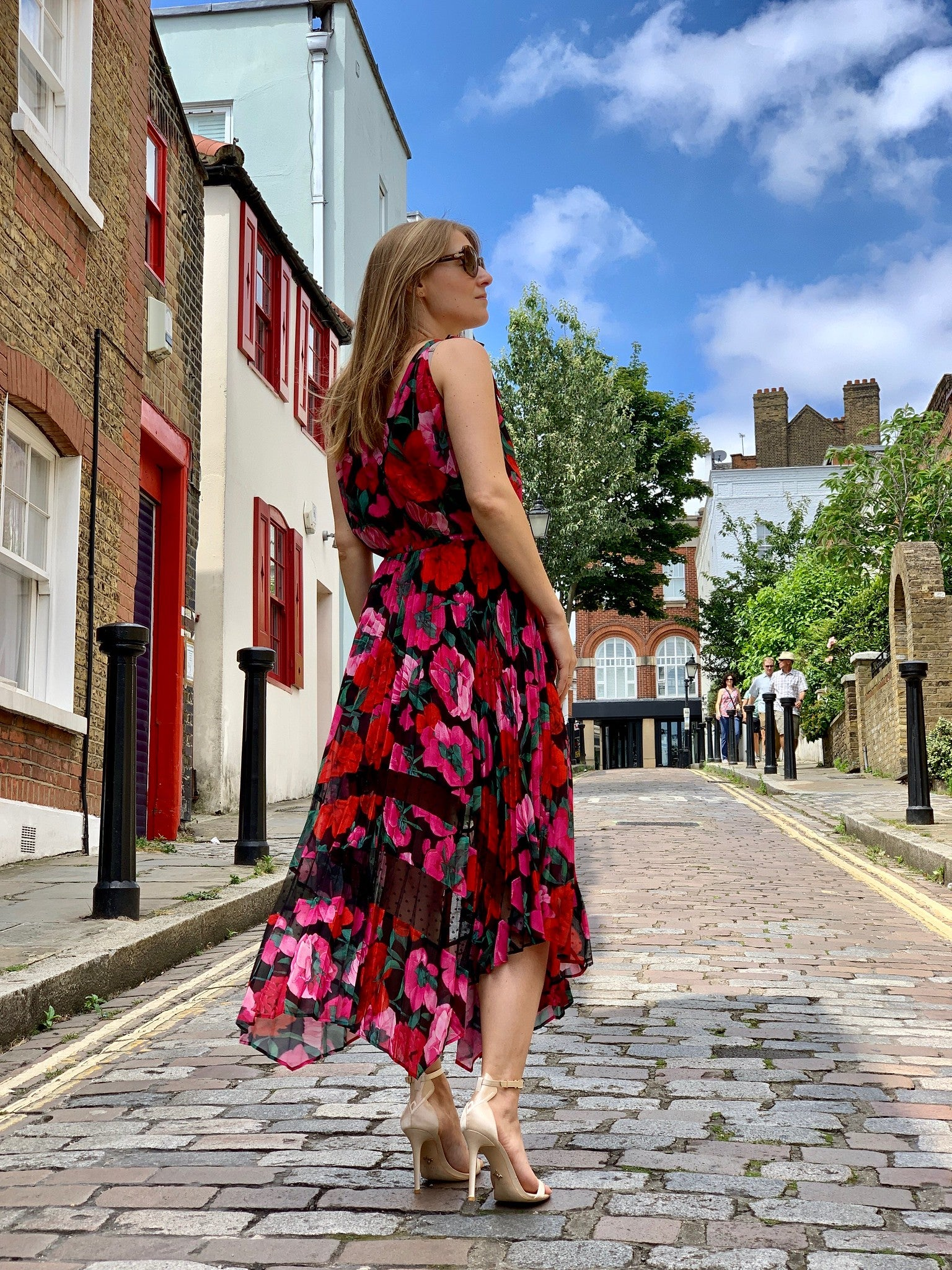 Strolling Hampstead wearing VENUS vegan strappy sandal