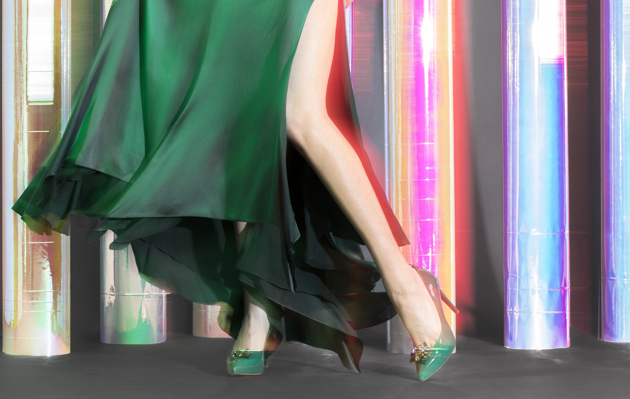 green high heels fashion trends