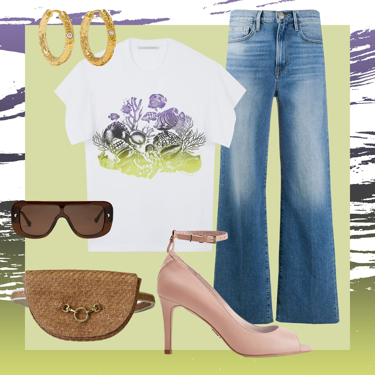 peep toe pump heels with shirt and jeans
