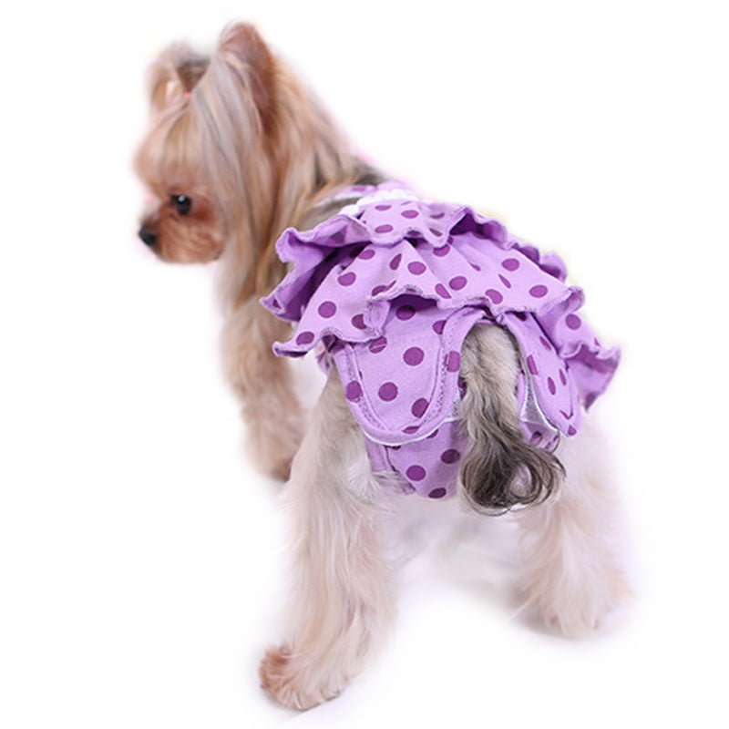 Frona 2-Piece Diaper Dog Sanitary Pantie with Suspender - Pink & Purple