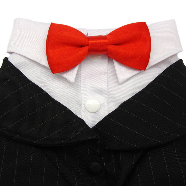 Oscar Formal Black Tuxedo with Black Tie and Red Bow Tie